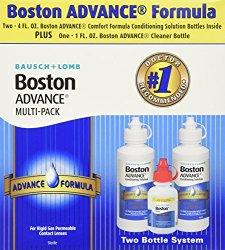 Baush & Lomb Boston Advance Comfort Formula for Rigid Gas Permeable Contact Lenses – Two 4 oz Bottles Plus 1 oz Cleaner