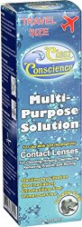 Clear Conscience Multi Purpose Contact Lens Solution – Travel Size – 3 oz – Specially formulated for sensitive eyes
