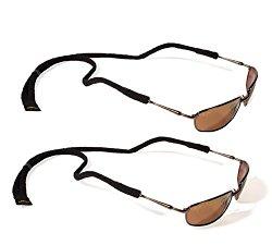 Croakies Microsuiter Eyewear, Eyeglass, and Sunglass Retainer (Black, 2 Pack)