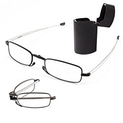 DoubleTake 2 Pairs of Compact Folding Reading Glasses with Mini Flip Top Carrying Case for Men and Women