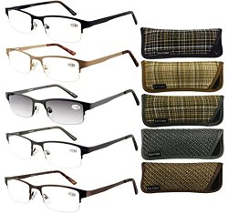 Eyecedar Metal Half-Frames Reading Glasses Men 5-Pack Spring Hinges Stainless Steel Material Frames Included 5-Cloth Pouch And Sun Readers Glasses +2.00