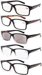 Eyekepper 5-pack Spring Hinges Vintage Reading Glasses Men Includes Sun Readers +1.50