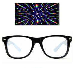 GloFX Ultimate Diffraction Glasses – Black – 3D Prism Effect EDM Rainbow Kaleidoscope Style Sunglasses