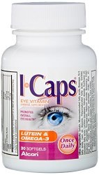 Icaps Lutein and Omega-3 Eye Vitamin and Mineral Supplement, 30 softgels