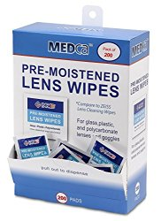 Lens Cleaning Wipes Towelette Dispenser Pre-Moistened (Pack of 200)