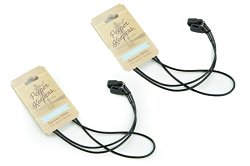 Peeper Keepers Round Leather Eyeglass Retainer Chain Holder (Black, 2 Pack)