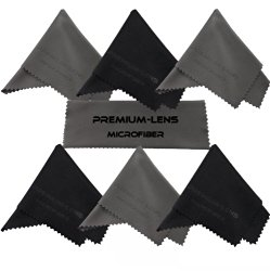 Premium-Lens® Microfiber Cleaning Cloth (7-Pack Blk/Grey)- Superior Cleaning Cloths for Eyeglasses, Sunglasses, DSLR Camera Lenses, Binoculars, Telescopes, Smart Phones, Laptops, iPad Tablets, LCD TV's, Computer-Touch Screens and Much More