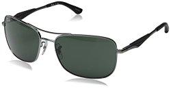 Ray-Ban Men's Rb3515 Square Sunglasses,Gunmetal,61 mm