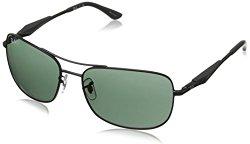 Ray-Ban Men's Rb3515 Square Sunglasses,Matte Black,61 mm