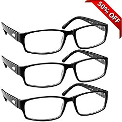 Reading Glasses _ 3 Pack Always Have a Professional Look, Crystal Clear Vision and Sure-Flex Comfort Spring Arms & Dura-Tight Screws _180 Day Guarantee + 2.00