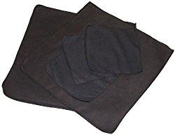 Opti Polishing Cloths: Pkg of 5 – Two 12″ x 12″ and three 6″ x 6″ – Black