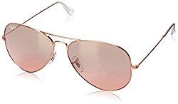 Ray-Ban Women's Aviator RB3025 001/3E 58-14 Gold Frame/Pink Mirror Lens,  62 mm Non-Polarized Sunglasses