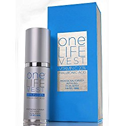 Luxury Anti Aging Skincare Treatment for Face, Organic Vitamin C Serum 20% + Hyaluronic Acid for Men and Women by One Life Vest. Dark Spot, Fine Lines and Wrinkles Removal. Can be used under the Eyes. EMMY AWARD Sponsor Product. Loved by Celebrities!