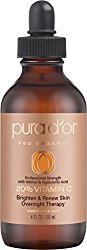 PURA D'OR 20% Vitamin C Serum Professional Strength Overnight Therapy, 4 Fluid Ounce