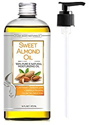 Sweet Almond Oil Triple AAA+ Grade Quality For Hair For Skin and For Face – 100% Pure from Spain – Cold Pressed – 16 fl oz by Pure Body Naturals