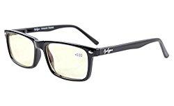 Eyekepper Readers UV Protection, Anti Glare Eyeglasses,Anti Blue Rays, Spring Hinges Computer Eyeglasses (Black, Yellow Tinted Lenses)