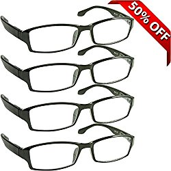 Reading Glasses _ Best 4 Pack for Men and Women _ Have a Stylish Look and Crystal Clear Vision When You Need It! _ Comfort Spring Arms & Dura-Tight Screws _ 180 Day 100% Guarantee +1.50