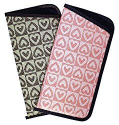 2 Pack Soft Slip In Eyeglass Case For Women Checkered Heart Pattern Pink & Brown