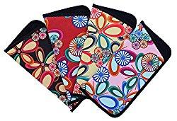4 Pack Soft Slip In Eyeglass Case For Women, Fun Floral Design, Color Assortment