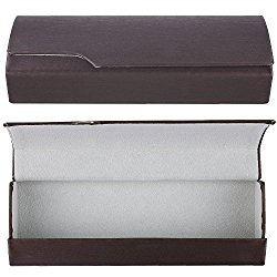 Aluminum Eyeglass Cases with Magnetic Closure – Lightweight Protective Glasses and Sunglasses Holders – Brown – Medium Size – by OptiPlix
