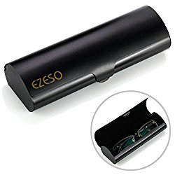 Aluminum Eyeglasses Case,EZESO Hard Shell Matte Elegant Frosted Slim Light Metal Spectacles Box For Small Frames(Black)