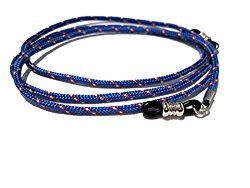 ATLanyards Blue with Maroon & White Accents Unisex Eyeglass Holder, Black Grips 316
