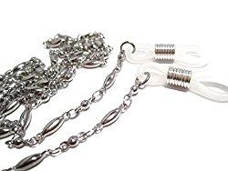 ATLanyards Long Oval and Ball Chain Eyeglass Holder – Stainless Steel Glasses Holder Chain