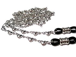 ATLanyards Solid Hearts Chain Eyeglass Holder with Black Grips – Eyeglass Chain with Hearts