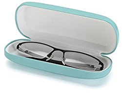 AV Medium Protective Hard Shell Glasses Case for Eyeglasses and Sunglasses with Microfiber Cleaning Cloth – Turquoise / White