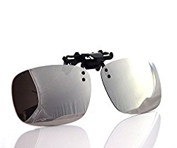 Besgoods Cool Siver Mirror Polarized Clip-on Flip up Plastic Sunglasses Lenses Glasses Outdoor Driving Fishing Sport