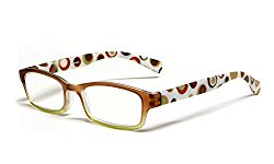 Calabria Hannah Designer Reading Glasses in Brown & Olive ; +1.75