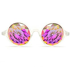 Clear Frame Rainbow Kaleidoscope Glasses – Fractal Cut Crystal – Thin light weight flat back lens