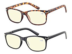 Computer Glasses Set of 2 Anti Glare Anti Reflection Stylish Comfortable Spring Hinge Frames for Men and Women