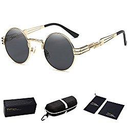 Dollger John Lennon Round Sunglasses Steampunk Metal Spring Frame Mirror Lens (Black Lens+Gold Frame)
