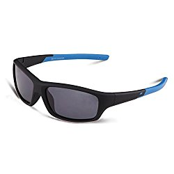 Duco Kids Sports Style Polarized Sunglasses Rubber Flexible Frame For Boys And Girls (Black005 For Age 5-12, Grey)