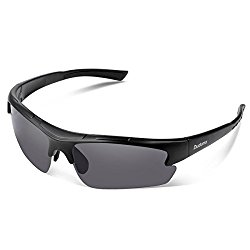 Duduma Polarized Designer Fashion Sports Sunglasses for Baseball Cycling Fishing Golf Tr62 Superlight Frame ((black matte frame with black lens)