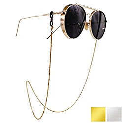 Eyeglass Chain – Kalevel Stainless Steel Sunglass Strap Eyeglass Strap Holder (Gold)