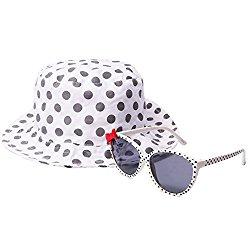 EYEGUARD UV400 Bowknot Design Kids Sunglasses and Sun Hats Combo Children Outdoor Cap