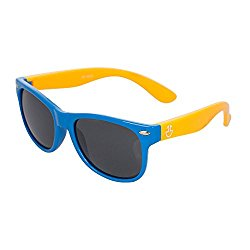 Flexible Rubber Kids Sunglasses for Boys and Girls – Bendable Unbreakable Silicone Gel Wayfarer Frame with Polarized Lenses – Blue Frame & Yellow Temples – by Optix 55
