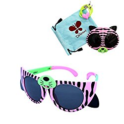 Folding kids sunglasses (pink and green, black)