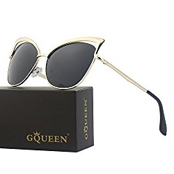 GQUEEN Women's Oversized Mirrored Metal Frame Polarized Cat Eye Sunglasses MT3