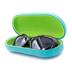 Hard Eyeglass & Sunglasses Case with Microfiber Cleaning Cloth   Protects Glasses w/Large & Extra Large Frames   for Men & Women   Clam-shell (AS87 Teal With Cloth)