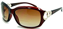 In Style Eyes Circle Power, Nearly Invisible Line Bifocal Sunglasses/Brown 1.50