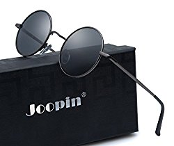 Joopin-Round Retro Polaroid Sunglasses Driving Polarized Sun Glasses Men Steampunk Vintage (Black Grey)