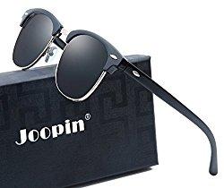 Joopin Semi Rimless Polarized Sunglasses Women Men Brand Vintage Glasses Plaroid Lens Sun Glasses (Brilliant Black Frame Grey Lens)