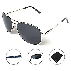 J+S Premium Military Style Classic Aviator Sunglasses, Polarized, 100% UV protection (Large Frame – Silver Frame/Black Lens)