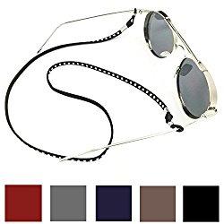 Kalevel Leather Eyeglass Strap Eyeglass Holder Eyeglass Chain for Women Men (Wine Red)