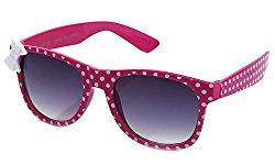 Kyra Kids Plastic Polka Dot Bow Sunglasses in Hot Pink