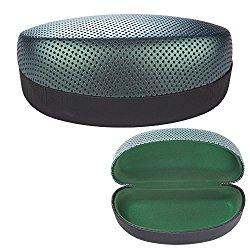 Large Designer Sunglasses Case – Lightweight Hard Clamshell Glasses Holder for Over-Sized Eyewear – 16cm X 7cm X 6cm – Green – By OptiPlix