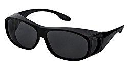 LensCovers Sunglasses Wear Over Prescription Glasses – Medium Size Polarized (Black) Polarized